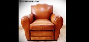 Fauteuil club Moustache en cuir de basane