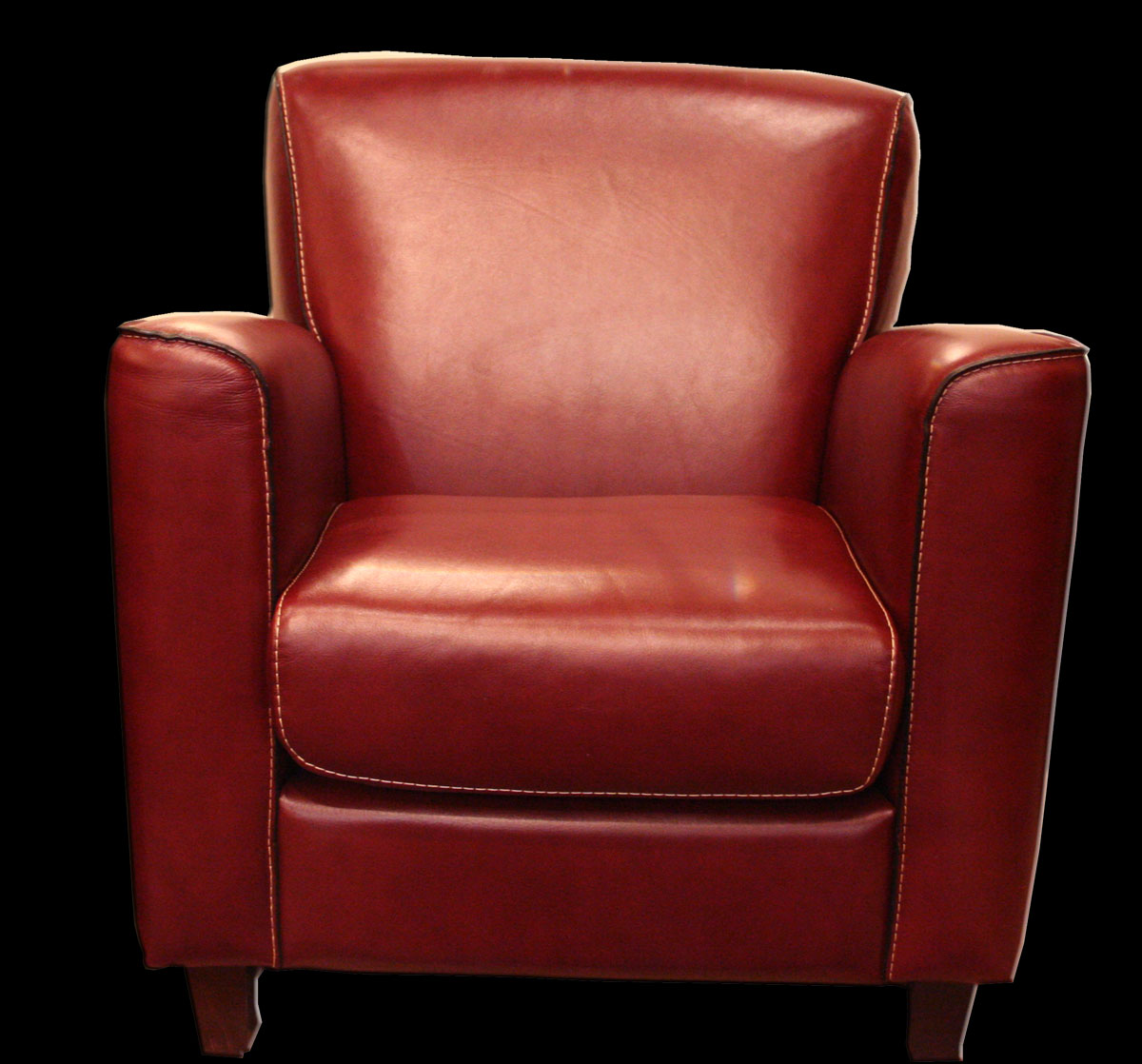 Fauteuil Maline En Cuir Rouge LongField - Fauteuil cuir rouge
