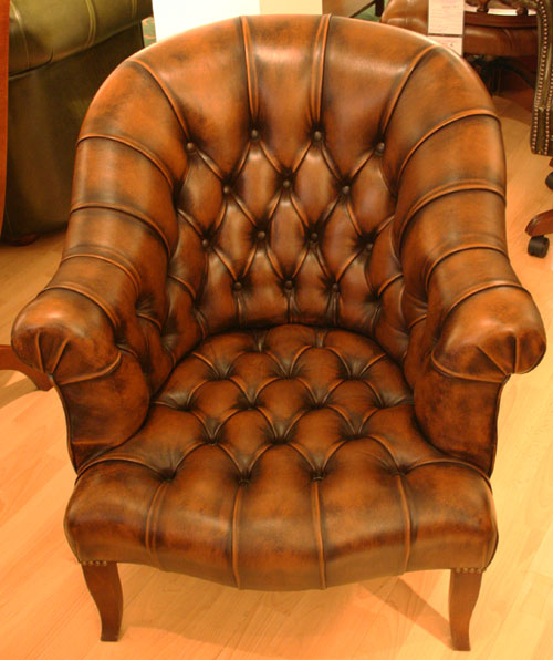 fauteuil anglais stanley cuir vachette marron patin longfield 1880. Black Bedroom Furniture Sets. Home Design Ideas