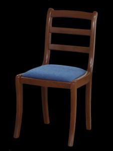 chaise barette en hêtre teinte merisier assise velours