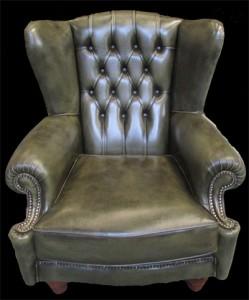 Bergère Anglaise assise coussin en cuir de vachette coloris vert bronze patiné