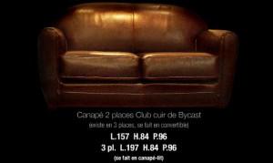Canapé 2 places club en cuir de bycast coloris marron glacé
