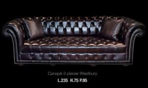 Canapé 3 places Chesterfield Westbury en cuir de vachette suprême coloris noir