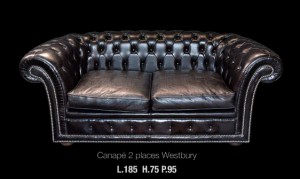 canapé 2 places Chesterfield Wesbury en cuir de vachette suprême coloris noir