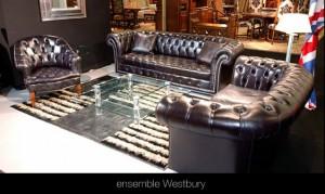 Salon Chesterfield Wesbury en cuir de vachette suprême coloris noir