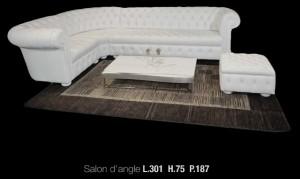 Canapé d'angle Chesterfield en cuir de vachette rancho coloris blanc