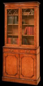 Bibliothèque 2 portes et 2 tiroirs en bois de merisier