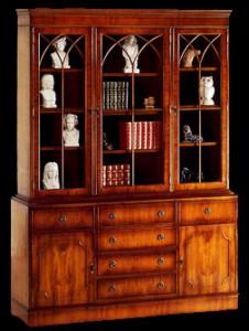 Bibliothèque 2 portes 6 tiroirs en bois de merisier