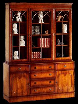 Bibliothèque Anglaise 2 portes 6 tiroirs en bois de merisier