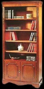 Bibliothèque Anglaise ouverte 5 étagères avec portes en bas en bois de merisier