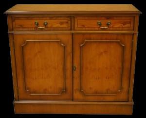Buffet Anglais 2 portes 2 tiroirs en bois d'if