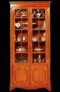 vitrine Anglaise en bois de merisier