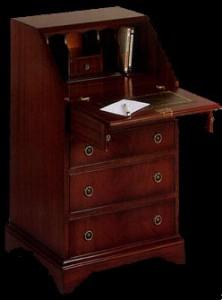 Bureau Anglais dos d'âne Madame 4 tiroirs en bois d'acajou dessus cuir gold