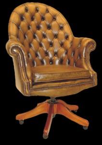 Fauteuil de bureau Anglais Exécutive assise coussin en cuir de vachette coloris gold patiné