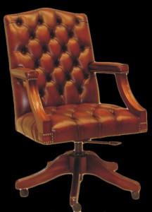 Fauteuil de bureau Anglais Gainsborough en cuir de vachette coloris marron patiné
