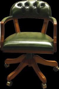 Fauteuil de bureau Anglais Court Swivel assise non capitonné en cuir de vachette coloris vert patiné