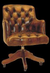 Fauteuil de bureau Anglais Gloucester en cuir de vachette coloris marron patiné