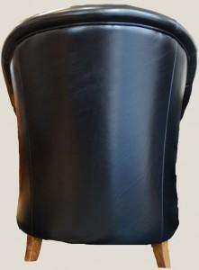 Fauteuil Baby Chesterfield vue de dos en cuir de vachette coloris noir