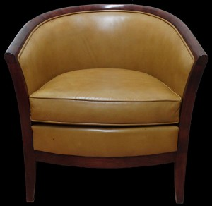 Soldes fauteuil Anglais Davis assise coussin en cuir de vachette coloris gold