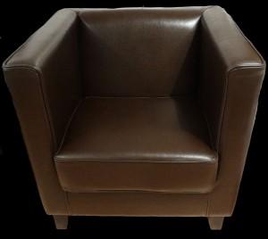 Soldes fauteuil club Cubus en cuir de bycast coloris marron