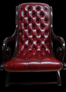 Petit fauteuil victoria bois acajou massif en cuir de vachette coloris bordeaux patiné