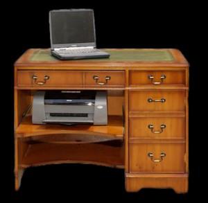 bureau-informatique-anglais-merisier-dessus-cuir-vert