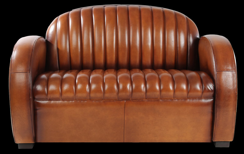 Canapé club 2 places Texas en cuir de basane | LongField 1880