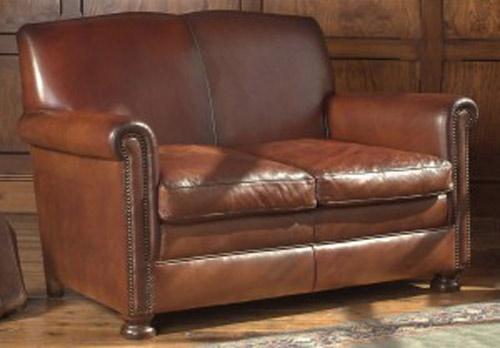 Fauteuil anglais prince en cuir de vachette longfield 1880 - Canape 2 places fauteuil assorti ...