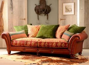 Canapé 3 places Eastwood en cuir de buffle et tissus