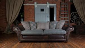 Canapé 3 places Carloway en cuir de vachette et tissus
