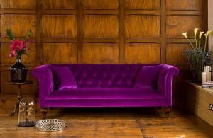 Canapé Chesterfield Regent en tissu coloris modena velvet aubergine