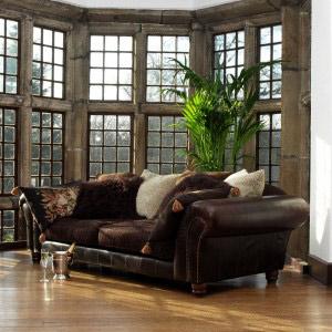 canap anglais 3 places degas en cuir et tissus. Black Bedroom Furniture Sets. Home Design Ideas