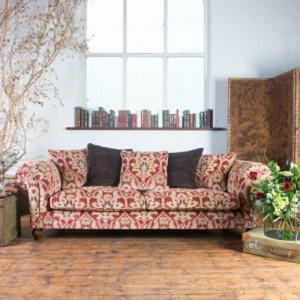 Canapé 3 places Elgar en tissu coloris enigma claret