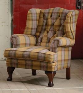 Fauteuil Beauford en tissus 100 % laine tweed coloris autumn gold plaid