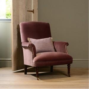 Fauteuil Keswich en tissus de velours coloris dusty pink