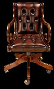 Fauteuil de bureau Regency en cuir de vachette coloris marron patiné teinte de bois noyer