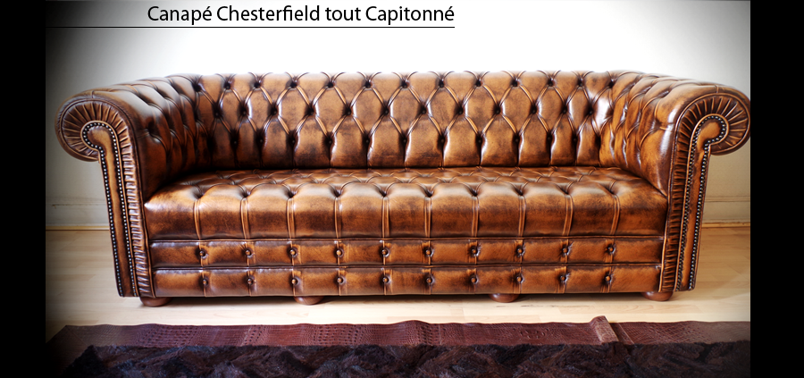 canap chesterfield capitonn 3 places marron patin longfield 1880. Black Bedroom Furniture Sets. Home Design Ideas