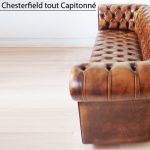 Canapé Chesterfield 3 places marron patiné