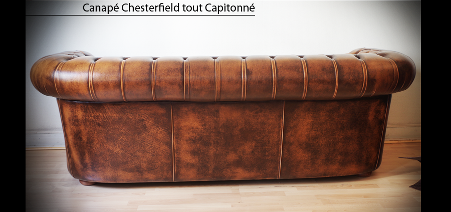 Canap chesterfield capitonn 3 places marron patin for Canape lit en anglais