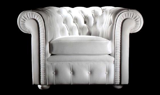 Petit fauteuil Chesterfield en cuir de vachette rancho coloris blanc
