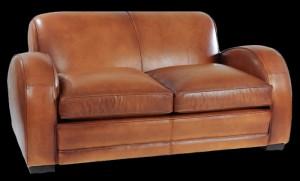 canapé 2 places club Mustang en cuir de basane pleine fleur patiné et ciré main coloris miel clair