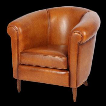 fauteuil club Bristol en cuir de basane pleine fleur coloris miel clair