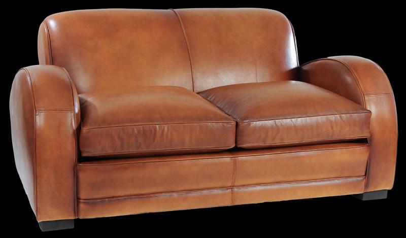 Canapé 2 places club Mustang en cuir de basane pleine fleur coloris miel clair