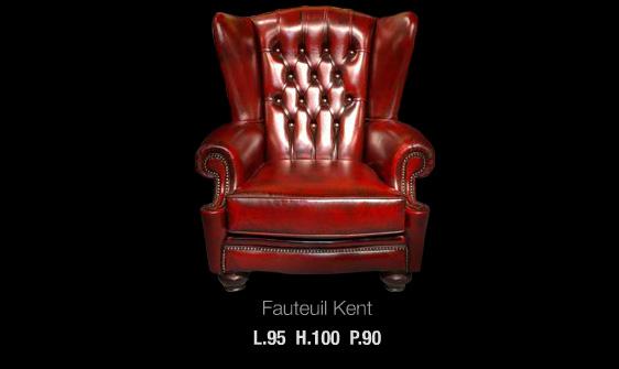 Fauteuil Kent en cuir de vachette coloris bordeaux patiné