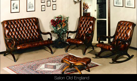 Salon Old England en cuir de vachette coloris marron patiné