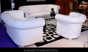 Salon Chesterfield en cuir de vachette rancho coloris blanc