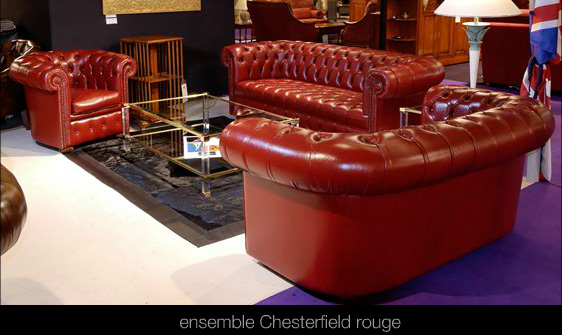 salon chesterfield en cuir de buffle coloris rouge. Black Bedroom Furniture Sets. Home Design Ideas