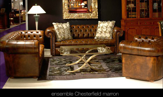 salon chesterfield en cuir de vachette coloris marron patin longfield 1880. Black Bedroom Furniture Sets. Home Design Ideas