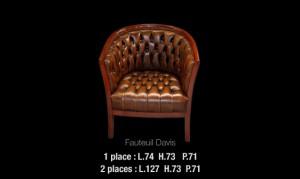 Fauteuil Davis en cuir de vachette coloris marron patiné