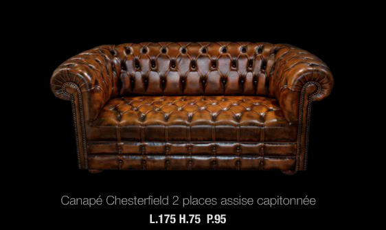 Canap 2 places chesterfield en cuir de vachette coloris marron patin long - Canape chesterfield cuir 2 places ...